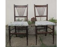2 carved dining chairs bedroom chairs rare and unusual wooden chairs