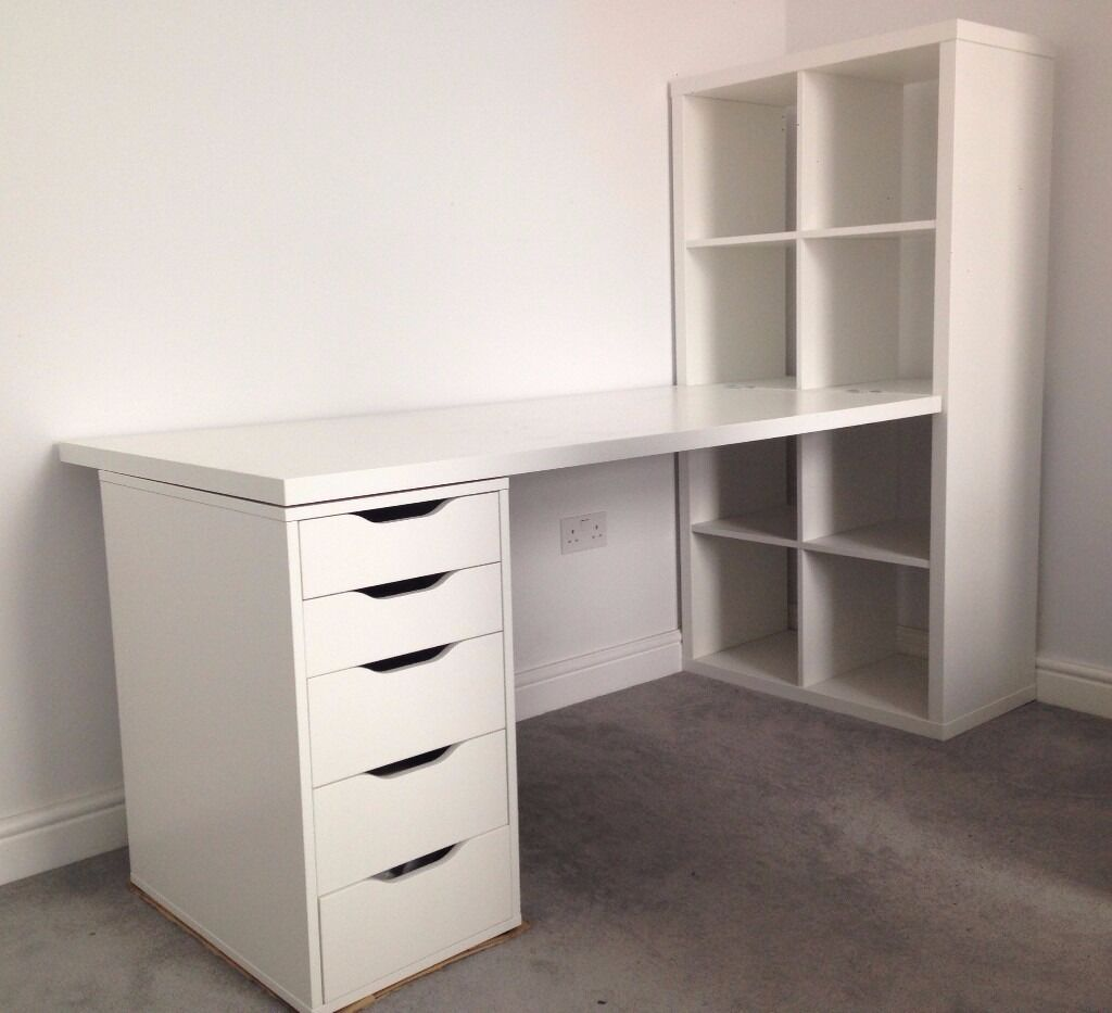 White Ikea Desk With Drawers And Shelves In Hammersmith
