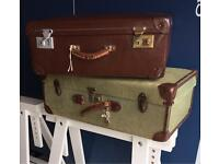 Pair vintage suitcases