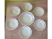 White decorative tea plate set