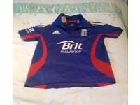 ADIDAS BLUE ONE DAY ENGLAND CRICKET SHIRT. AGED 11-12 YEARS. CLIMACOOL MATERIAL.