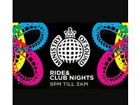 2 tickets to Ministry of Sound at Thorpe park