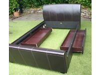 Excellent condition - Double Bed metal frame - Chocolate Marella Faux Leather with storage drawers