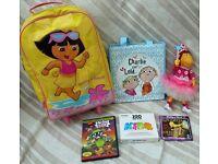 Bundle of Girls items - trolley bag, bag of 10 Charlie & Lola books, Rugrats DVD, Kids music CDs etc