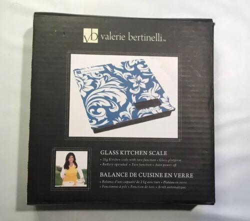 Valerie Bertinelli Glass Top Digital Kitchen Food Scale Blue NIB
