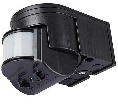 Detector de movimiento negro 180° Exterior,IR max.12m,10 -1000Watt,10sec-8min