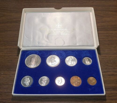 1975 SWITZERLAND - OFFICIAL PROOF SET (9) - SWISS MINT - VERY RARE BEAUTY!