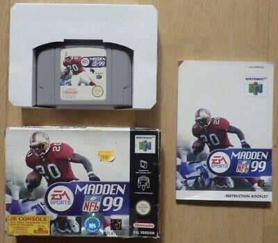 Très Rare Voir Introuvable Jeu Nintendo 64 N64 Complet PAL EUR Madden NFL 99