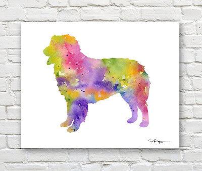 AUSTRALIAN SHEPHERD Art Print Contemporary Watercolor Abstract Dog Wall Decor