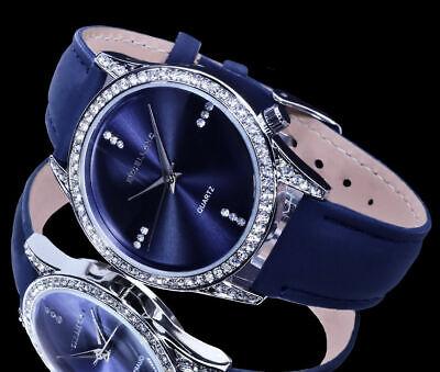 Excellanc Damen Uhr Damenuhr Armbanduhr Silber Farben Blau