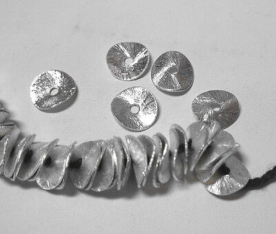 SP Silver Plated 8mm Round Wavy Cornflake Chip 50 Beads Spacer Accent Jewelry