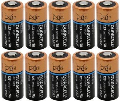 Duracell DL123A, CR123A 3V Lithium Batteries X 10