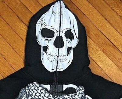 Mens Full Face Mask Skeleton Skull Hoodie Sweatshirt Fun different and cool. - Mens Skeleton Hoodie