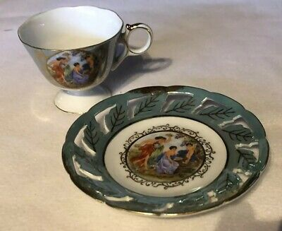 Royal Halsey Very Fine China Tea Cup And Saucer Cut Out  Vintage  Green