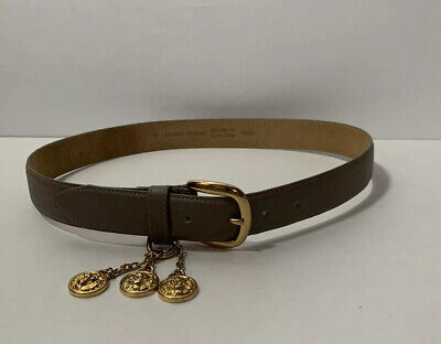 """Anne Klein For Oroton Brown Gold Tone Brass Buckle Lion Leather Women's Med 32"""""""