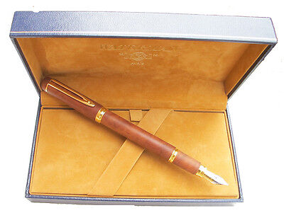 WATERMAN LE MAN SPECIALTY BRIAR WOOD FOUNTAIN PEN 18K GOLD MEDIUM PT NEW IN BOX