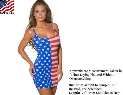 USA FLAG DRESS STARS AND STRIPES TANK FORM FITTING O/S S - L