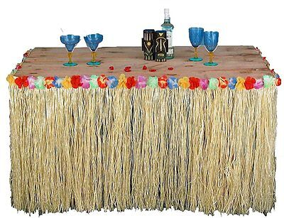 Tropical Hawaiian Luau Table Grass Skirt with Flowers BBQ Party Decorations - Hawaiian Grass Table Skirts