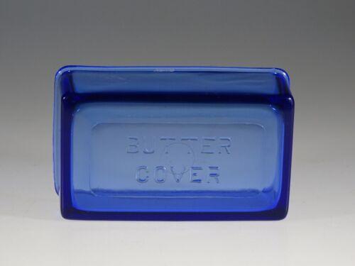 Rare Depression Era Hazel Atlas Glass Cobalt Blue Embossed Butter Lid c.1930