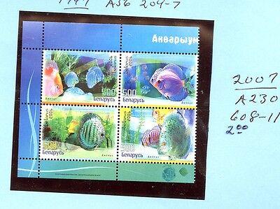 Belarus 608-11 MNH set * FISH * SCV $2.00