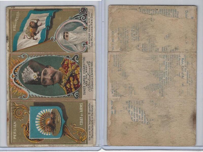 N126 Duke, Rulers, Flags, Coats of Arms Tri-Fold, 1889, Persia, Shah