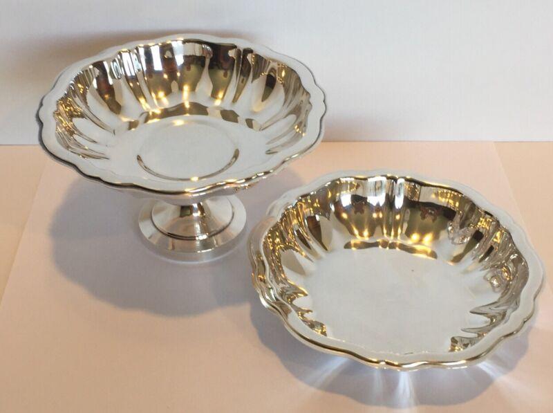WM A Rogers Silver Plate Candy Dish Pedestal & Trinket Dish Scallop