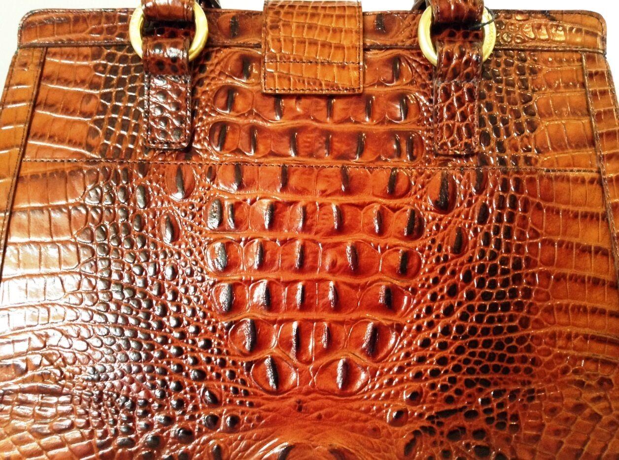 Brahmin Annabelle Satchel Pecan Brown Doctor Bag Croc Emb Bowling Handbag 9 Of 11 See More