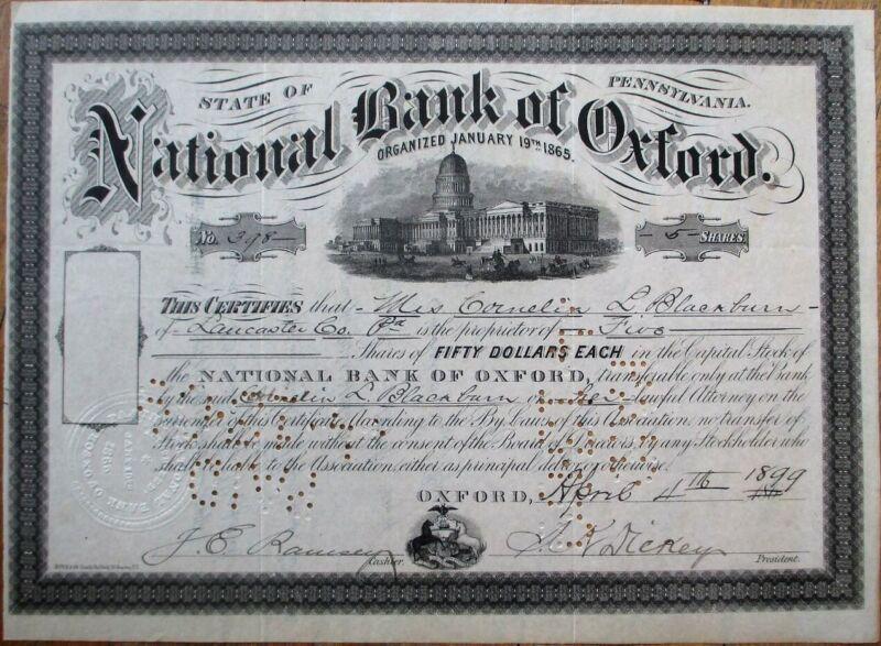 National Bank of Oxford, PA 1860/1899 Stock Certificate - Pennsylvania Penn