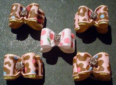 Pretty Light Pink Brown Bold Flower Mix Show Dog Grooming Bows Diamante Centre