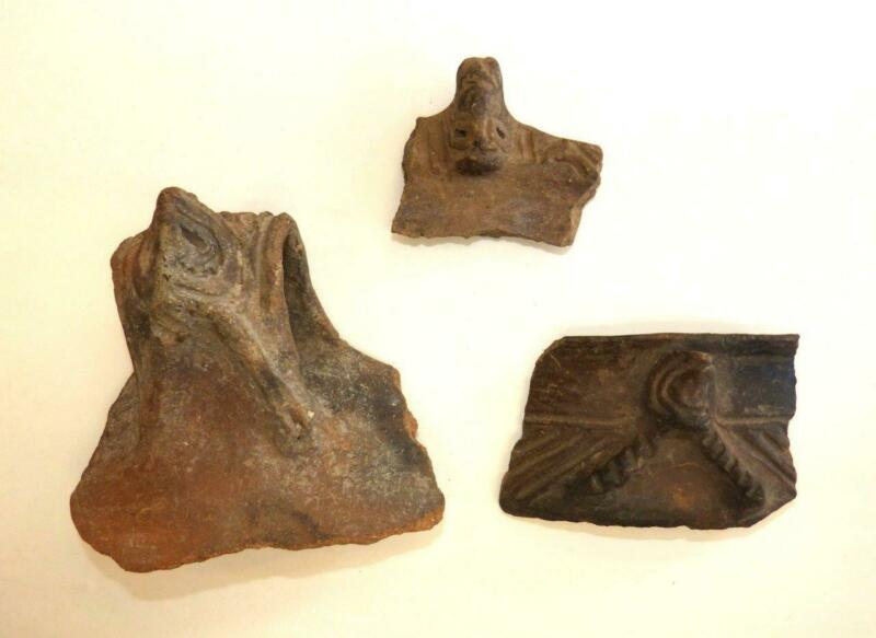 3 FIGURAL SHARDS FROM THE RIMS OF PRE-COLUMBIAN TAINO POTTERY BOWLS