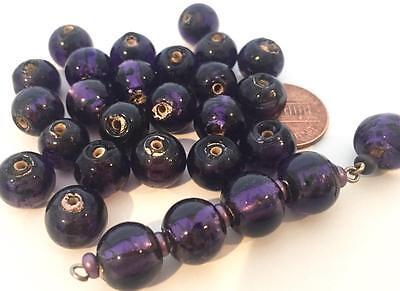 Vintage 10mm Purple Foil Lampwork Glass Beads 20