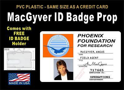 MACGYVER ID Badge / Card Prop - Comes with Badge Holder - PVC / Premium Quality