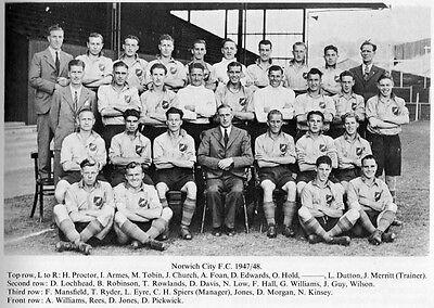 NORWICH CITY FOOTBALL TEAM PHOTO 1947-48 SEASON