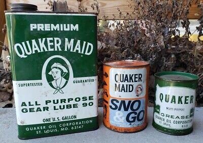 Vtg Quaker Maid Oil Can Lot Sno & Go Gear Lube Grease Oil Gas Sign Garage