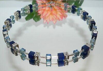 Halskette Collier Cube Würfel Cat Eye nachtblau dunkelblau Glas blau Strass 507. (Designer Halskette)