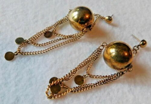 Pair Gold Tone Dangle Earrings Large Ball Hanging Chains Flat Circles Pierced
