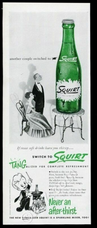 1956 Squirt soda bottle photo vintage print ad