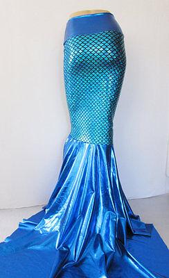 Blue Mermaid skirt Scales Metallic puddle train stretch Fabric