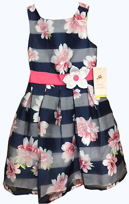 Jona Michelle Girls' Special Occasion Dress Navy Shadow Stripe  (Occasion Dresses Girls)