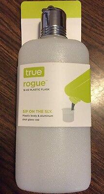 - Travel FLASK 16 Ounce Plastic W/ Aluminum & Plastic Lids NEW Shot Glass Cap 16oz