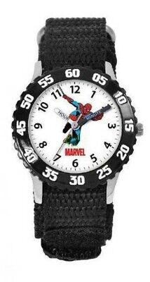 NEW Kids Marvel Spider-Man Time Teacher Stainless Steel Black Quartz Watch