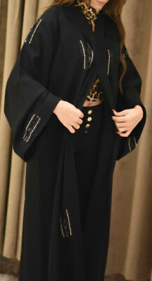 Black Beaded Open Abaya Kimono Kaftan jilbab jalabiya burkha with Black Scarf