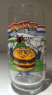 Vintage1986 McDonald's McVote 86 Glass Big Mac Collectible Glass Cup