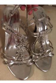 Ladies silver sandals size 37