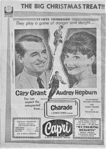 "Large 1963 Cary Grant & Audrey Hepburn movie ad. - ""Charade"" - Original"