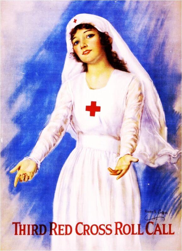 Third Red Cross Roll WWI American Patriotic Nurse Advertisement Poster Print
