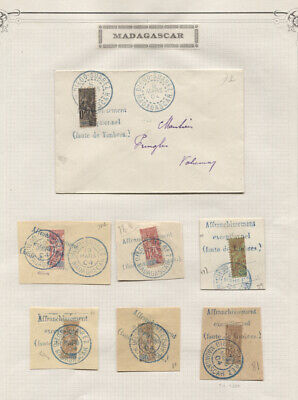 MADAGASCAR 1904 PROVISIONAL BISECT USAGES ON PIECE AND COVERS COLLECTION NEATLY