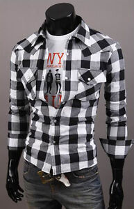 Mens fashion Casual Checks Plaid Slim Fit Stylish Dress Shirts Tee Tops 2Color