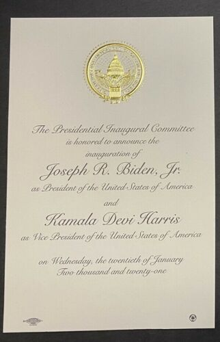 Joe Biden & Kamala Harris Inaugural Invitation January 2021 POTUS