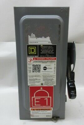 Square D H361 Ser. F05 Safety Switch 30 Amps 600 Volts 20 Hp Max Fusible